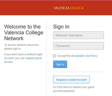 Welcome to the Valencia College Network Login Page