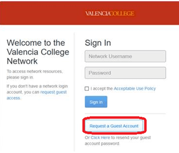 Welcome to the Valencia College Network Login Page - Request Guest Account