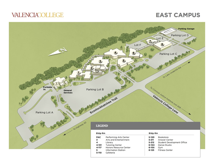 Valencia East Campus Map Hours | EAP Lab | Learning Support Center | Valencia College